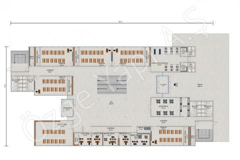 İlkokul 3036 m2 - Zemin Kat