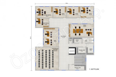 Ofis 697 m2 - 1. Kat