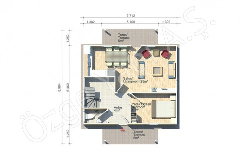 Erguvan 124 m2 - Zemin Kat