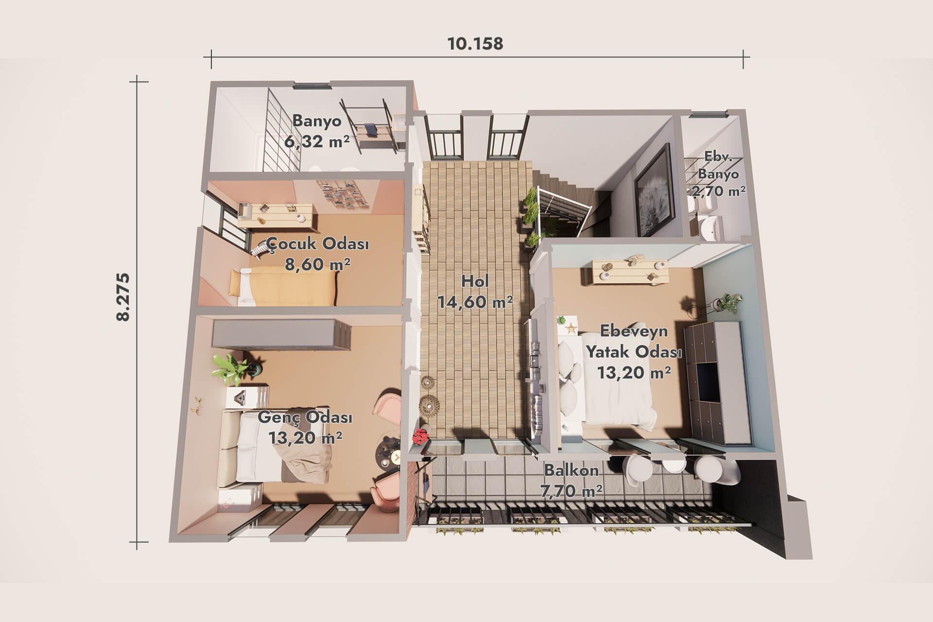 Prefabrik Modern Villa 160 m2 - Zemin Kat